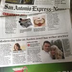 Who's that lucky author hanging out with Mr. Darcy on the front page of the San Antonio Express News Life section? Omg it's me. ❤ #unleashingmrdarcy #mrdarcy